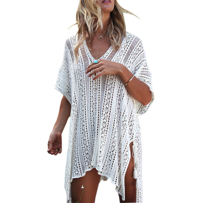 Boho Loose Dress Summer V Neck Women Solid Knitted Hollow Out Dresses Sundress Plus Size for Beach Dress Vestido женское платье summer dress 2015cute o women dress