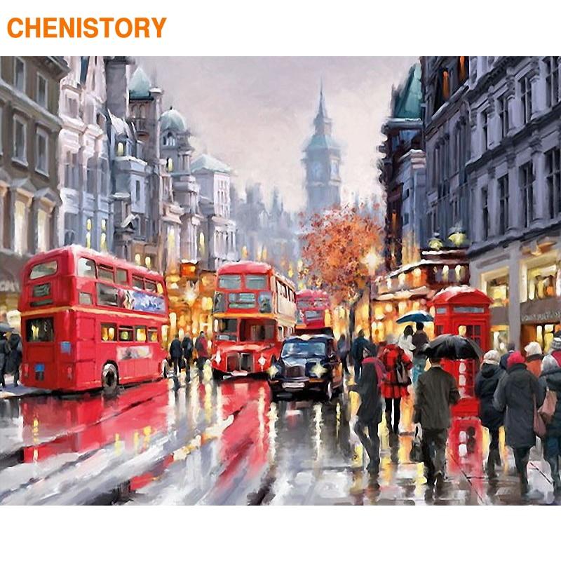 CHENISTORY Paris Romantische Straße DIY Malerei Durch Zahlen Moderne Wand Kunst Leinwand Hand Gemalt Öl Painitng Für Wohnkultur 40x50 cm