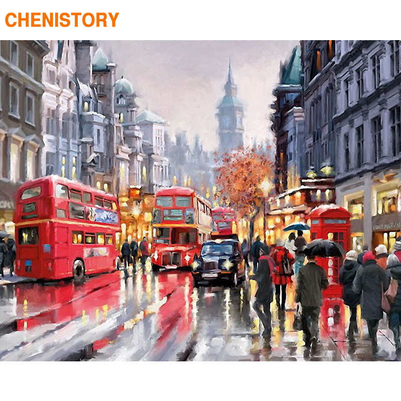 CHENISTORY Paris Romantic Street DIY Painting By Numbers Modern Wall Art Canvas Hand Painted Oil Painitng For Home Decor 40x50cm
