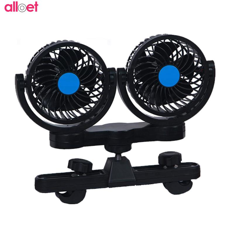 Dual Head Mini 12V Car Seat Clip Fan 360 Degree Rotating Strong Wind Air Cooler Air Conditioner Portable Auto Air Cooling Fan