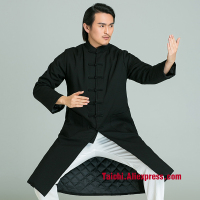 Winter Handmade Linen Tai Chi Robe Wushu, Kung Fu,martial Art Cotton Wool Uniform ,black And Blue