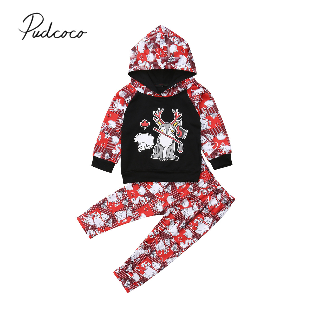 2PCS Toddler Baby Boy Christmas Clothes Long Sleeve Hoodie Top+Pants Outfits Set