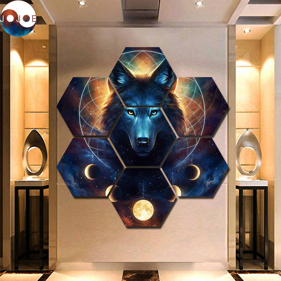Dreamcatcher by JoJoes Art 7 Pieces hexagon Wolf  Canvas Prints Painting Wall Art Modular Picture Modern Decorative Paintings