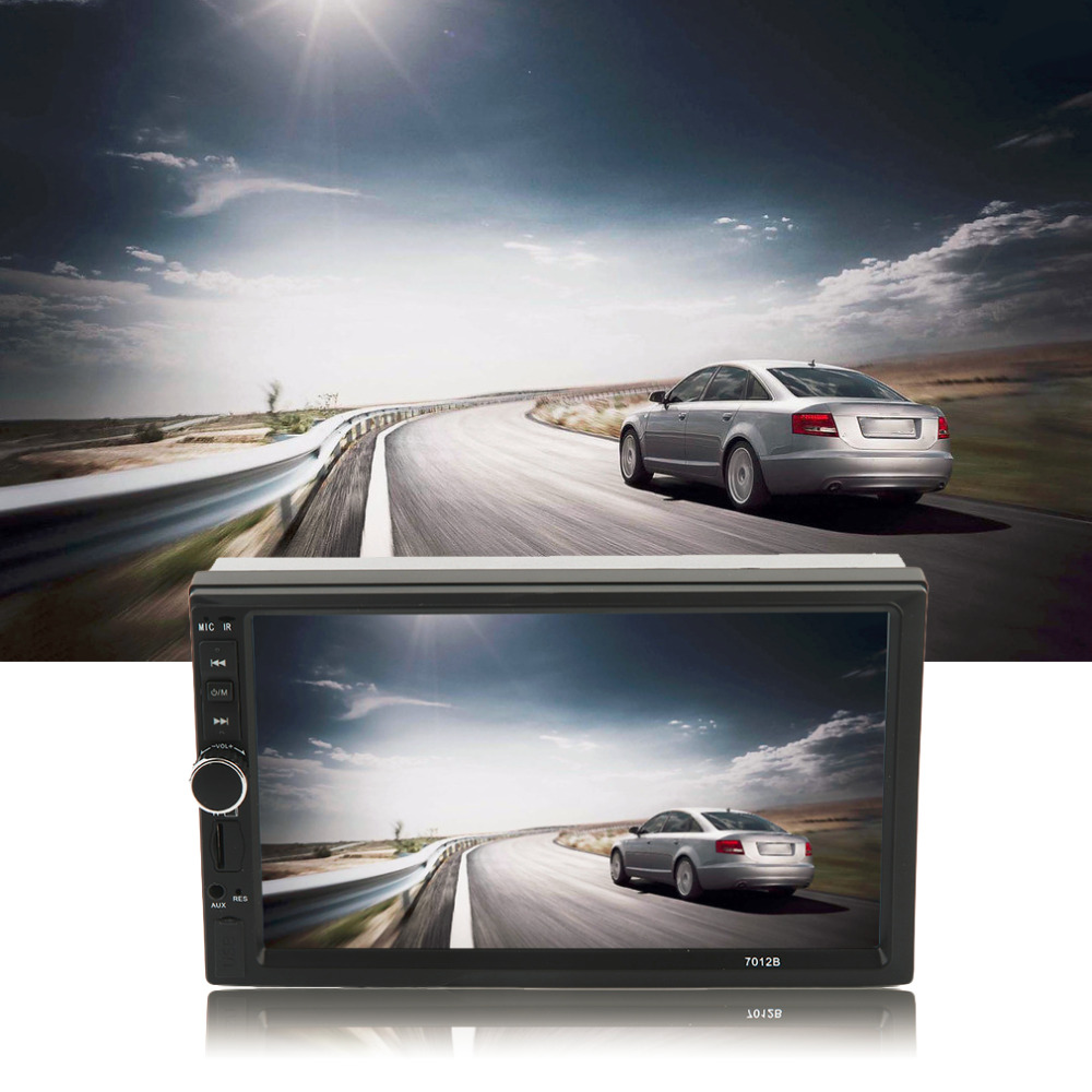 Car Vehicle 7 Inch Screen TF Card Doule Din Bluetooth DVD Player with Rear View Camera Auto Multimedia Player Audio Player Black 7 inch touch screen 2 din car multimedia radio bluetooth mp4 mp5 video usb sd mp3 auto player autoradio with rear view camera