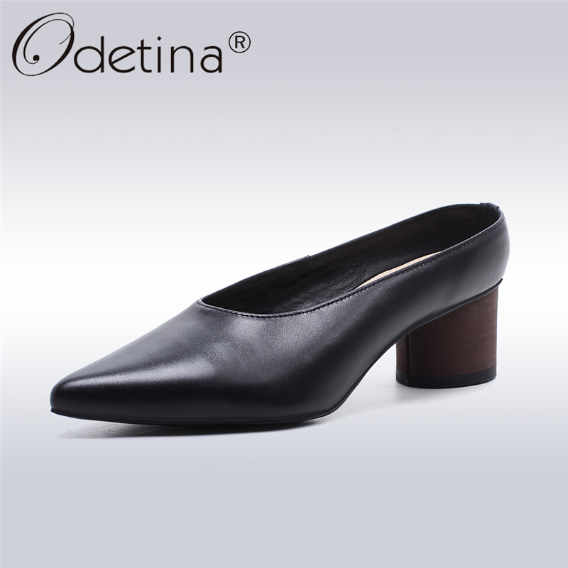 Odetina 2018 New Fashion Women Genuine Leather Mules Pointed Toe Slip On Shoes For Ladies Strange Style Low Heel Retro Footware hot sale 2016 new fashion spring women flats black shoes ladies pointed toe slip on flat women s shoes size 33 43