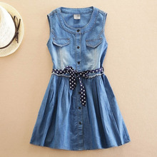 Girls Dress Summer 2018 New Children's Vest Dresses Belt Sleeveless Cotton Blue Jeans  Dress 5 6 7 8 9 10 11 12 13 14 Years Old girls dress striped sleeveless ruffles kids dresses o neck tops tank children clothes summer 2018 size 9 10 11 12 13 14 years