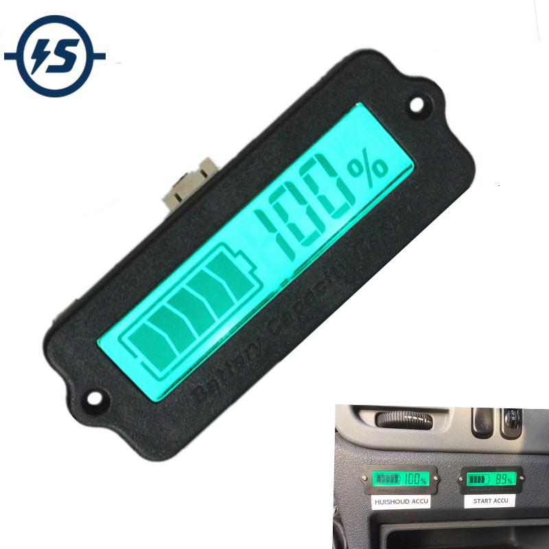 IC Tester Voltmeter Battery Capacity Indicator 12V LY6W Lead Acid LiPo LCD Display Battery Capacity Meter Power Detect Digital