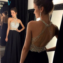Sexy Black Long Prom Dresses 2016 A-Line Halter Backless Rhinestones Beads Floor Length Women Formal Party Gowns