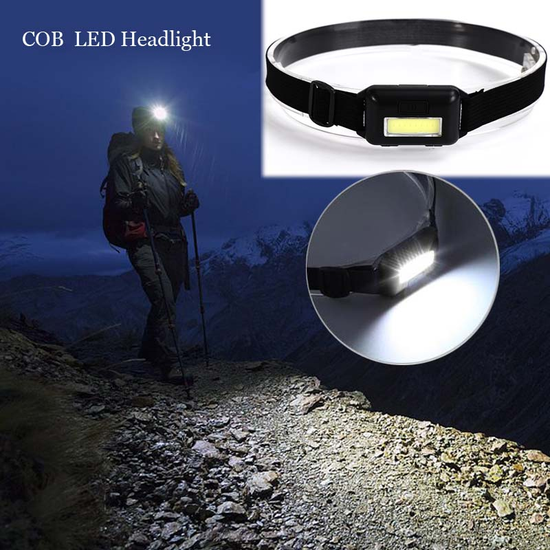 Waterproof COB LED Headlamp Headlight 3 Modes Helmet Light Lamp Torch For Running Camping Hiking Fishing With Headband