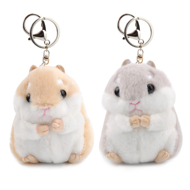 Mini Stuffed Toys Hamster Keychains Faux Rabbit Fur Pompom Fluffy Trinkets Keyrings Car Handbag Pendant Key Chain Ring Holder