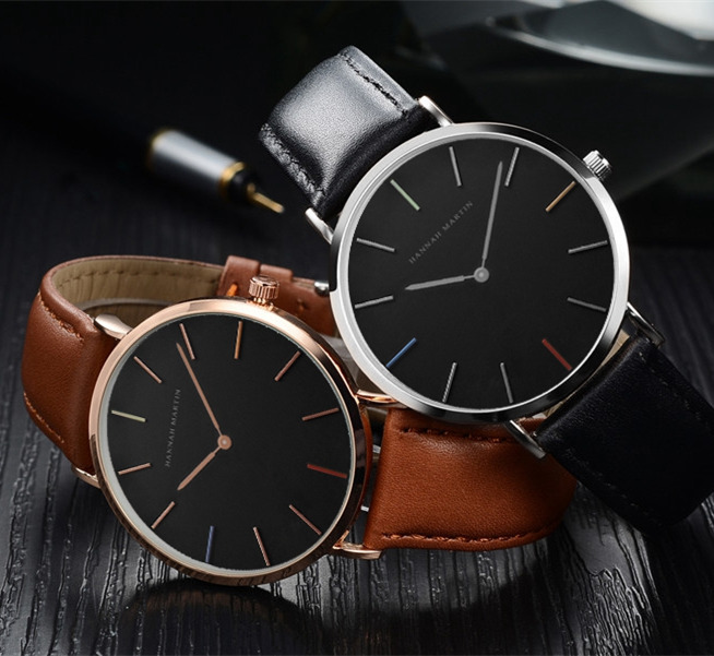 Hannah Martin Lovers' Style Men Watch Leather Nylon Strap Top Brand Luxury Watch Women Watches Men Rose Gold Clock Saat Relogios