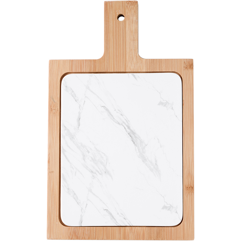 Nordic style ceramic flat bread cutting board sushi plate fight with bamboo handle pad creative storage rectangular buffet tray 4