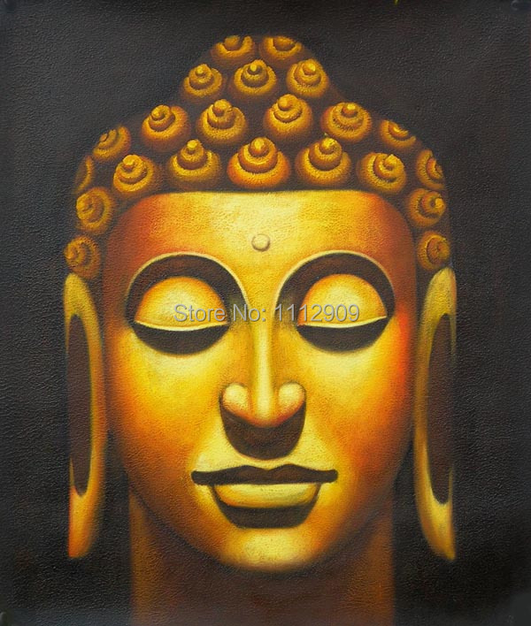 100Handpainted Gold Color High Q Buddha Oil Paintings On Canvas