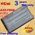 5200mAh Battery for Asus A32-A8 A32-F80 A32-F80A A8 A8000 F50 F8 F80 F81 F83 N80 N81 X61 X80 X85 X88 Z99 X80L 70-NF51B1000