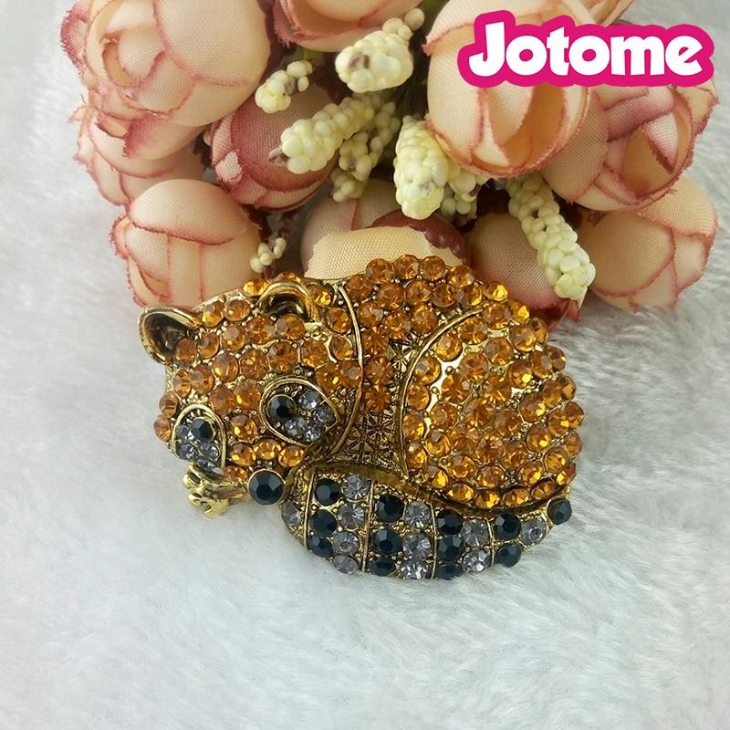 Jolies broches en strass animal ton or gros broches, grand 55mm bijoux de broche en strass bébé renard endormi