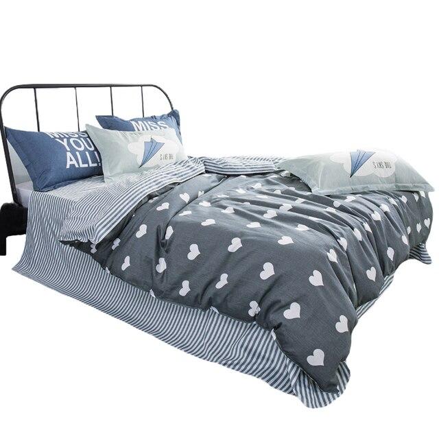 Arnigu Moderne Stil Weiss Herz Muster Bettwasche 100 Baumwolle Grau