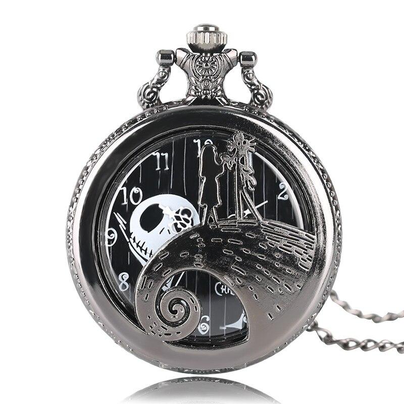 Black Vintage Quartz Pocket Watch The Nightmare Before Christmas Half Hunter Fob Clock Child Boy Girl Gift Necklace Chian