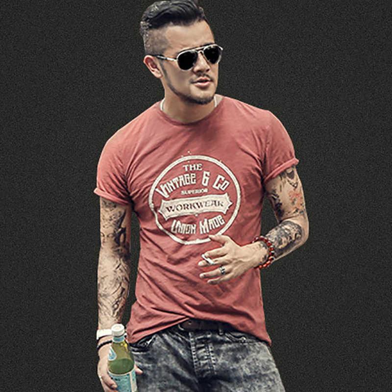 Мужская повседневная хлопковая футболка, летняя уличная футболка с коротким рукавом и круглым вырезом, зауженная футболка в стиле ретро, с принтом-надписью, T380