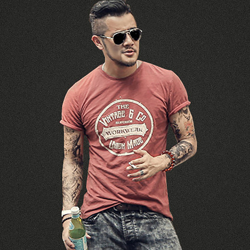 Summer Men New Street Trend Printing Short Sleeve Letters Retro T-shirt Men's Round Neck Fashion Cotton Casual Slim T-shirt T380