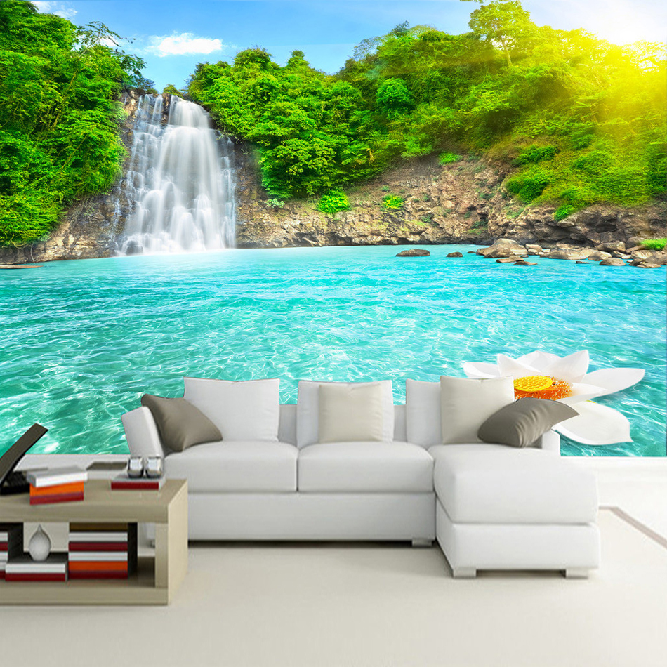 High quality custom mural wallpaper living room 3d hd for Quality wallpaper for home