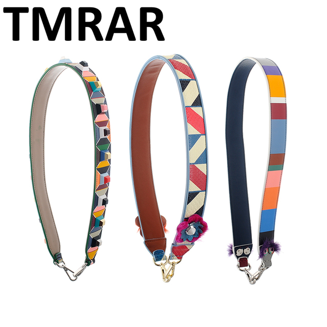 New 2018 Genuine Leather geometric rivets handbag belt trendy design bags strap bag parts bag accessory easy matching M2016