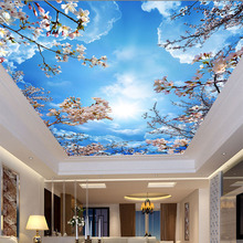 3D Ceiling Mural  Wallpaper Romantic Blue Sky White Clouds Cherry Blossoms Photo Wallpaper