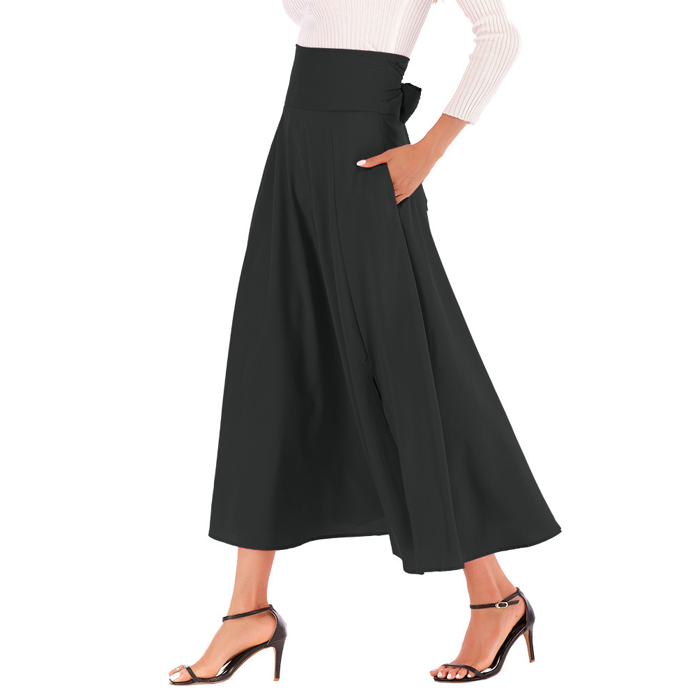 Women's Chiffon Skirt Side Split Belt  Pocket Skirt Vintage Skirt  Vintage Women's Midi Skirt