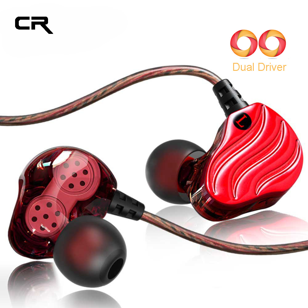 Dual Driver Wired Earphones Sport Earphone for Running HIFI Bass Earbud for iPhone Sumsang In Ear DJ Headset for Xiaomi Phone