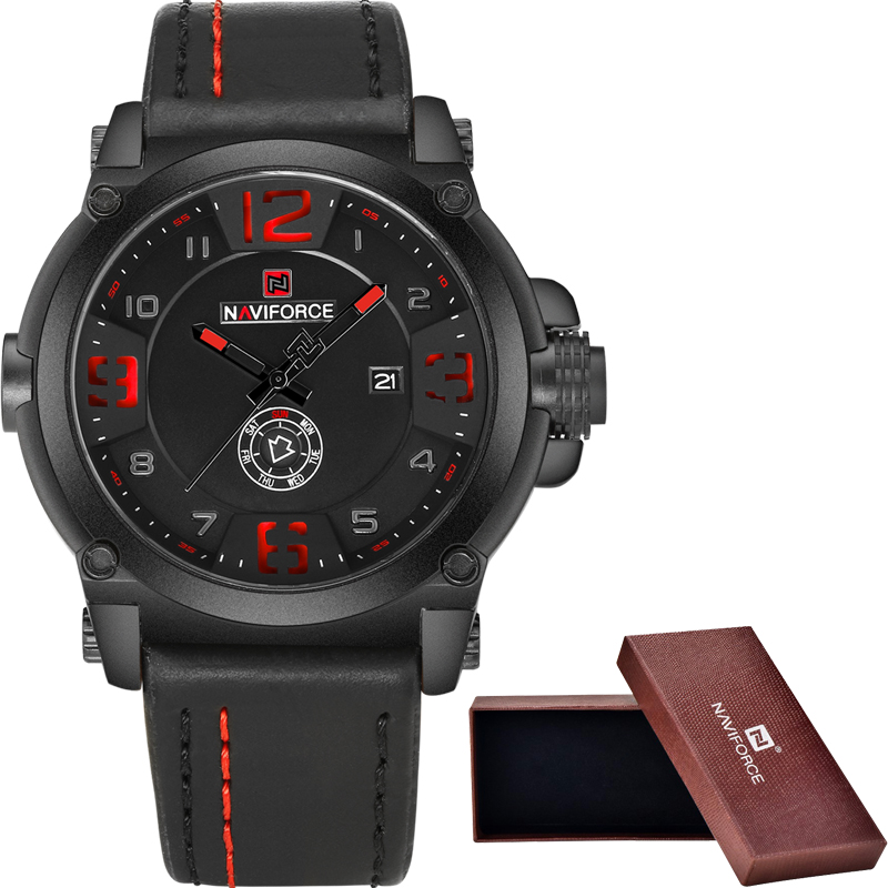 NAVIFORCE Military Sport Mens Watches Top Brand Luxury Men Waterproof Leather Quartz Watch Man Fashion Wristwatch Male Clock+box top brand sport men wristwatch male geneva watch luxury silicone watchband military watches mens quartz watch hours clock montre
