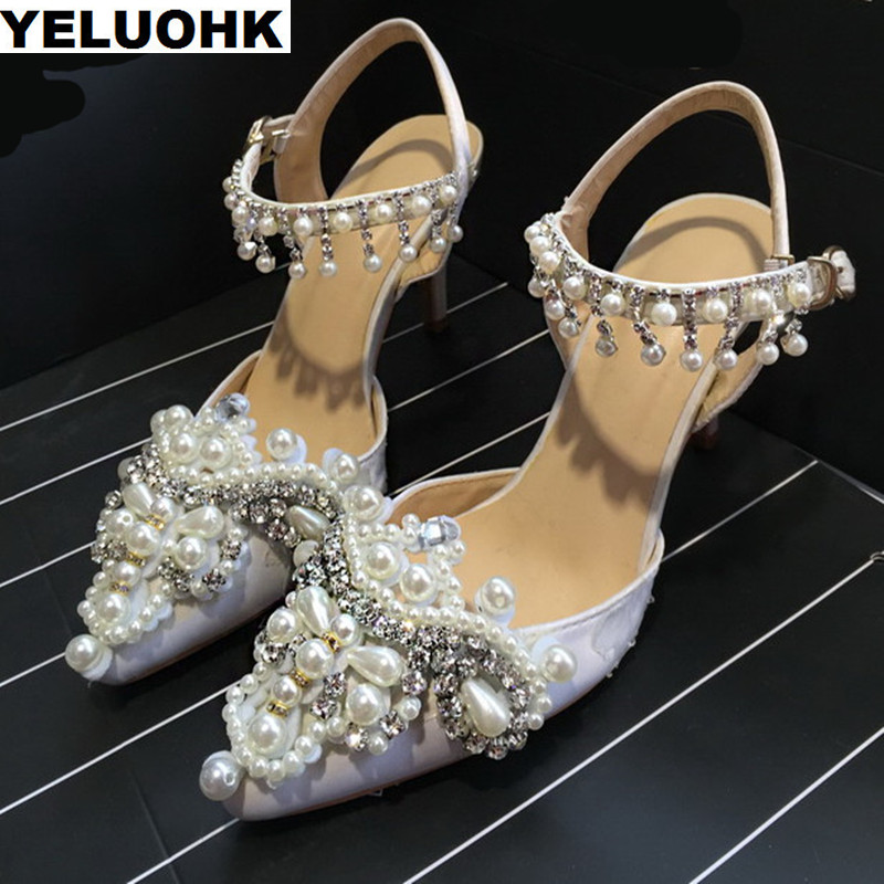 New Pearl Bridal Shoes Woman High Heels Pointed Toe Wedding Shoes Women Party Pumps Stilettos Ladies Shoes White new arrival white wedding shoes pearl lace bridal bridesmaid shoes high heels shoes dance shoes women pumps free shipping party