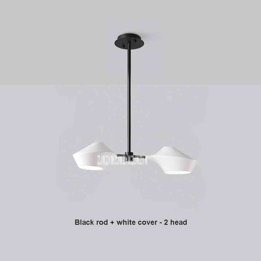 SG-D432 Creative Nordic Style Living Room Iron Chandelier Simple Modern Black Rod White Cover 2-head LED Bedroom Lamps 110V/220VSG-D432 Creative Nordic Style Living Room Iron Chandelier Simple Modern Black Rod White Cover 2-head LED Bedroom Lamps 110V/220V