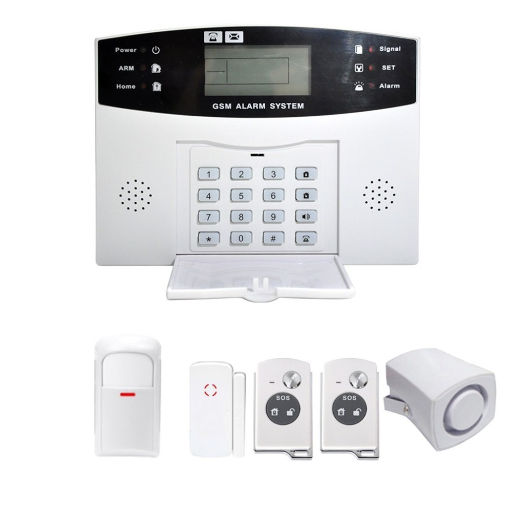 Wireless LCD GSM SMS Home Security Guard Burglar House Fire Alarm Warning System Alert Detector YA-500-GSM