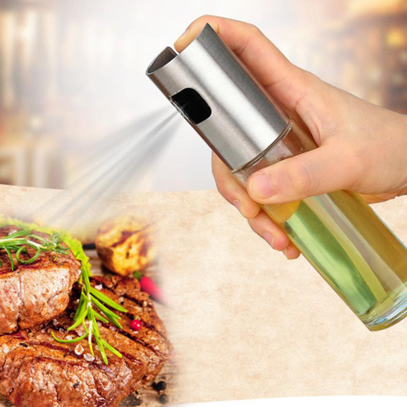 oil bottles Spray Bottle Pump Glass Olive Cooking Stainless Steel Pot Leak-proof Drops shipping