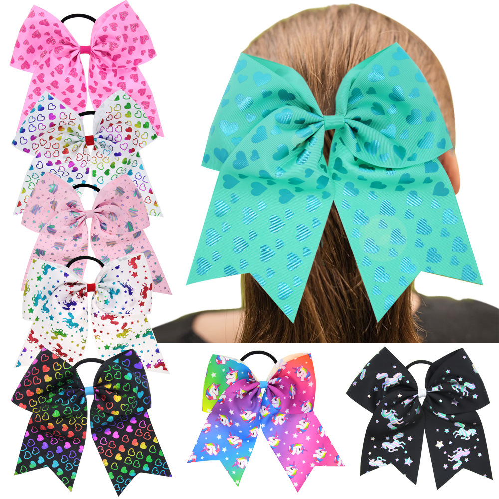 New Unicorn Horn Elastic Hair Bands Girls Fashion Ribbon Bow Hair Rope Children Heart Diy Bow Rubber Band Headband