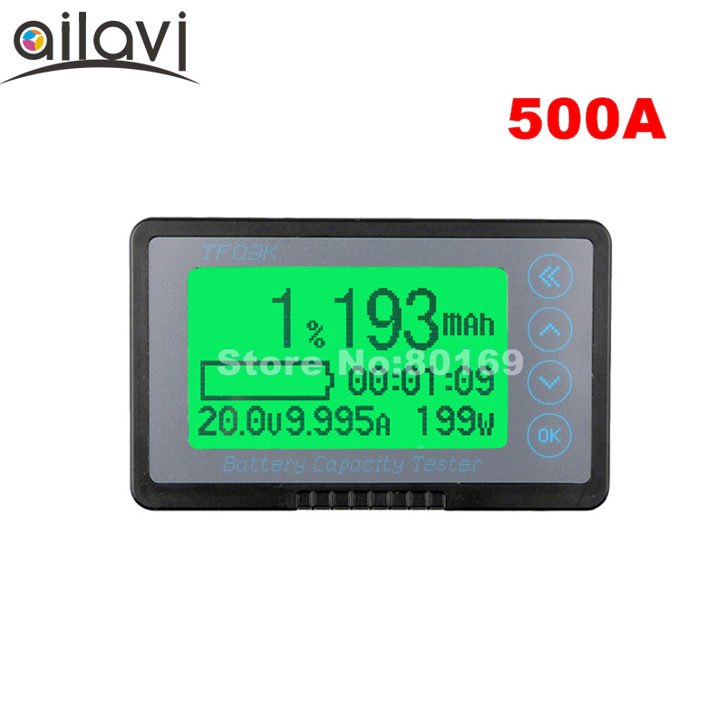 12-72V 500A Capacity Tester Indicator TF03K Large Sceen Professional Coulometer Battery Meter for RV / Electric Car