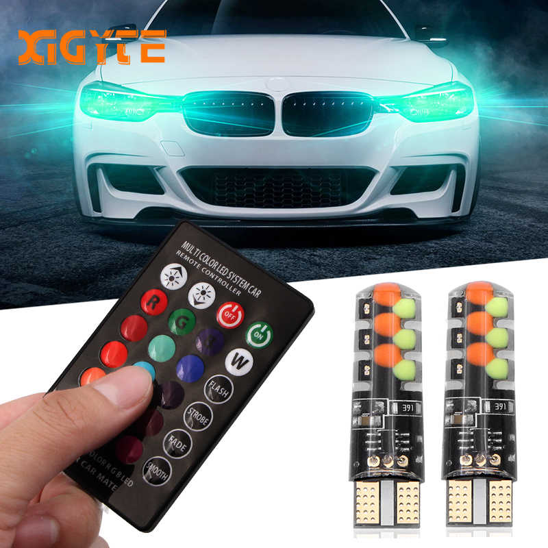 2018 Led W5W T10 RGB Clearance light New Universal Car RGB COB 12SMDs Colorful Multi Mode Car Light Bulbs With Remote Controller