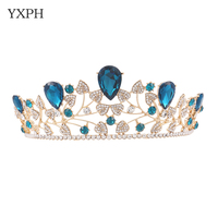 YXPH 2017 Sky Blue Crystal Gold Color Leaf Chic Sparkly Rhinestones Tiaras Crowns Bridal Hair Accessories