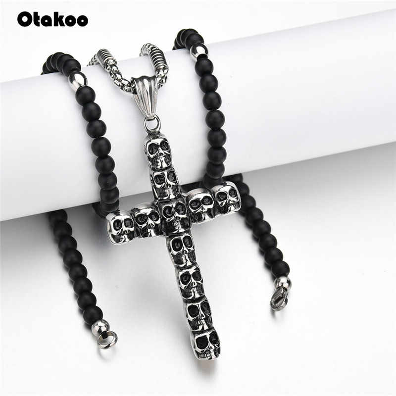 Otakoo Black stone  Beads with Stainless Steel  cross Pendant Mens Rosary Necklace Mens Mala jewelry