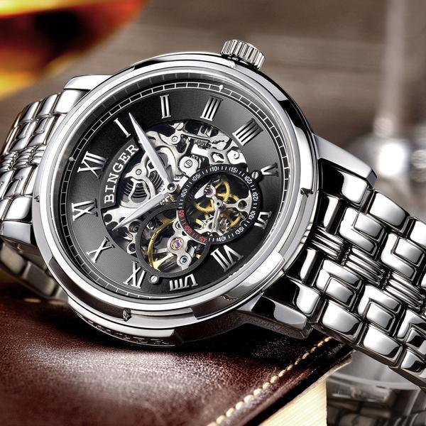 Top marque BINGER montre hommes de luxe mode squelette creux hommes montres Tourbillon automatique mécanique montre reloj hombre