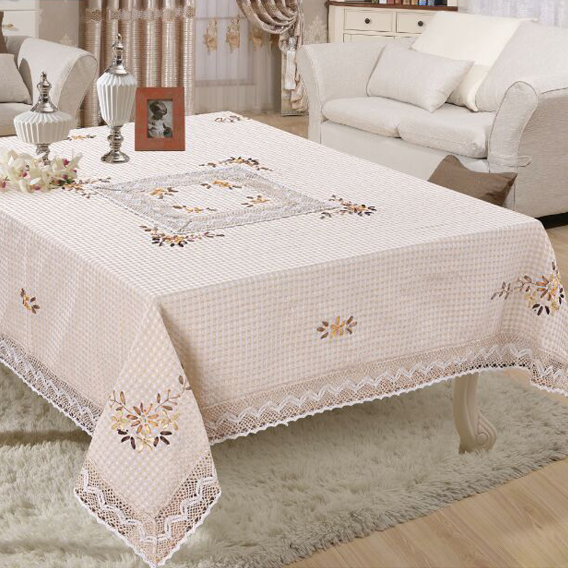 Polyester White Weave Handmade Lace Tablecloth Square Table Cloth For  Wedding Party Table Covers Home Decoration