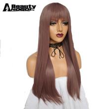 ANOGOL BEAUTY New High Temperature Fiber Full Hair Wigs Peruca Natural Long Straight Purple Synthetic Cosplay Wig With Bangs(China)