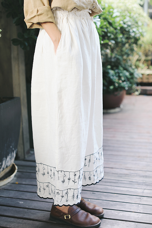 Spring Autumn Women Comfortable Embroidery   Wide     Leg     Pants   Elastic Waist Linen Trousers