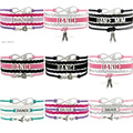 (10 PCS/Lot) Infinity Love Dance Wrap Bracelet Gift for Dancer Dancing Bracelet Black Leather Suede Custom any Themes