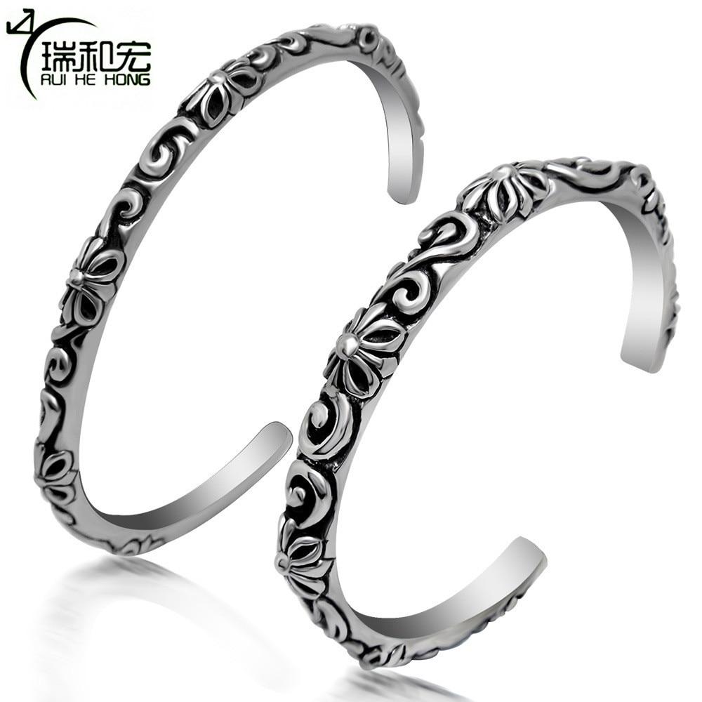 Vintage Black Titanium Steel Bangle Carved Pattern Couple Bracelets & Bangles Cuff Bracelet Women Wrist Band Viking