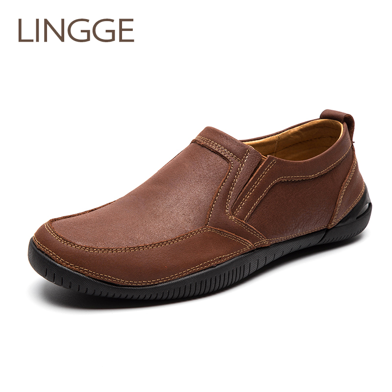 LINGGE Brand New Arrival Genuine Leather Men's Shoes Brown Casual Shoes For Men Handmade Shoe Slip On Rubber Sole Spring Shoes business men tie shallow mouth brown leather casual rivet shoes men s shoes round youth non slip rubber sole