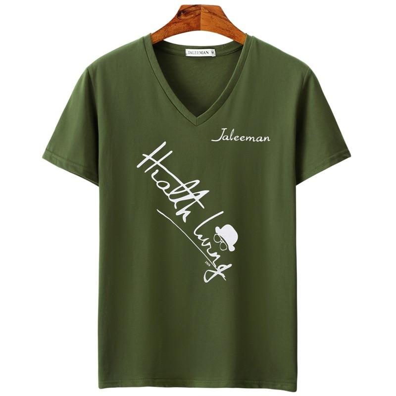 JALEEMAN NEW 2018 Brand Clothing Tee Tops 5XL V Neck Men T Shirt Mens Fashion Short Sleeve Tshirt Fitness Casual Male T-shirt