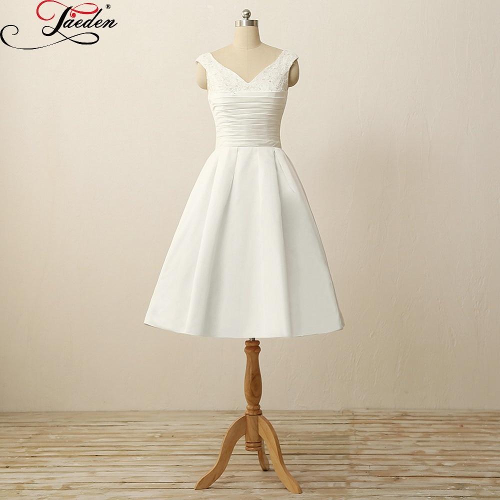 JAEDEN White Ivory Knee Length font b Wedding b font Dresses Pleat Satin Appliques Back Zipper
