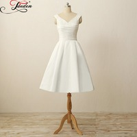 JAEDEN A Line Wedding Dresses Satin Lace Sashes Bow Knee Length Ribbon Zipper Back W118 Scoop
