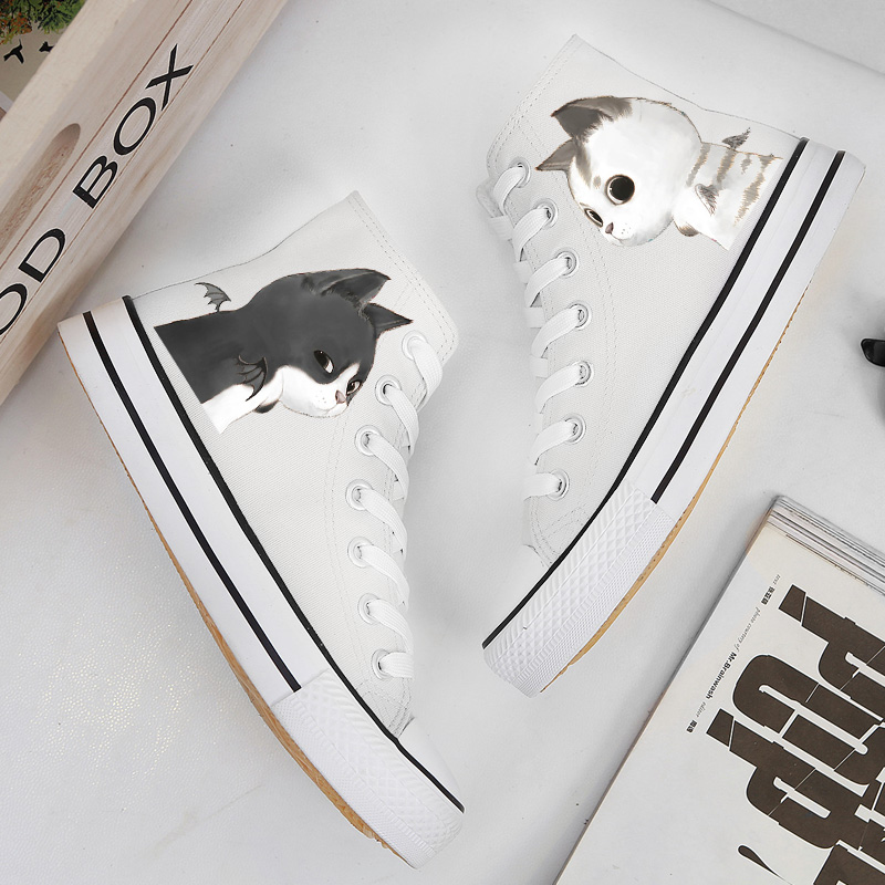 Plus Size 35-43 Couple Shoes New 2018 Little Cat Print Women Casual Shoes High Top Lace Up Breathable Canvas Fashion Sneakers skull cat print crescent hem top