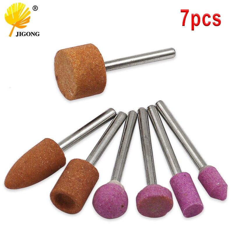 7 pièces/ensemble abrasif monté pierre pour Dremel outils rotatifs meulage pierre roue tête Dremel outils accessoires